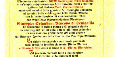 Benedizione prima pietra chiesa San Pio Marotta